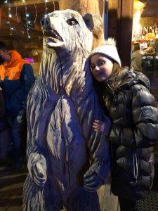 Emily giving the Polar Bear a well deserved hug!